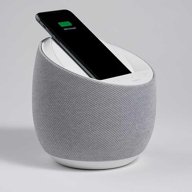 Belkin G1S0001 Soundform Elite Smart Speaker image, white, three-quarter view with phone in place